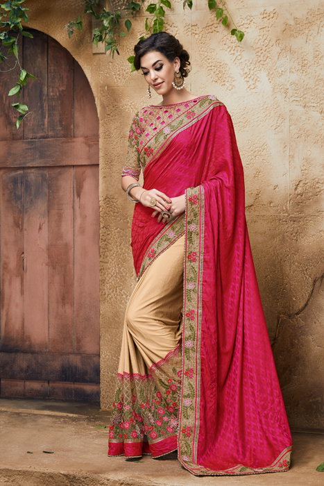 Beautiful Blouse Design And Semi Saree And Embroidered Border
