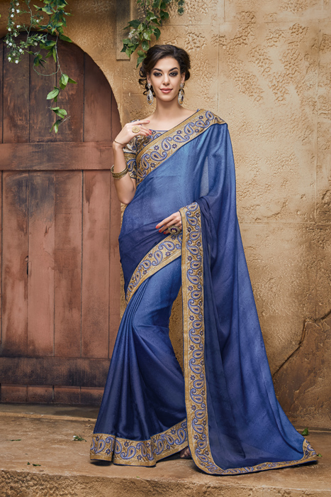 Blue Art Silk Saree With Golden Border And Embroidery