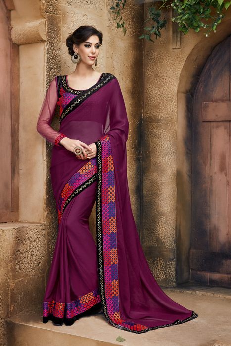 Applique Embroidered Border  With Maroon Art Silk  And Perfect Blouse Designs