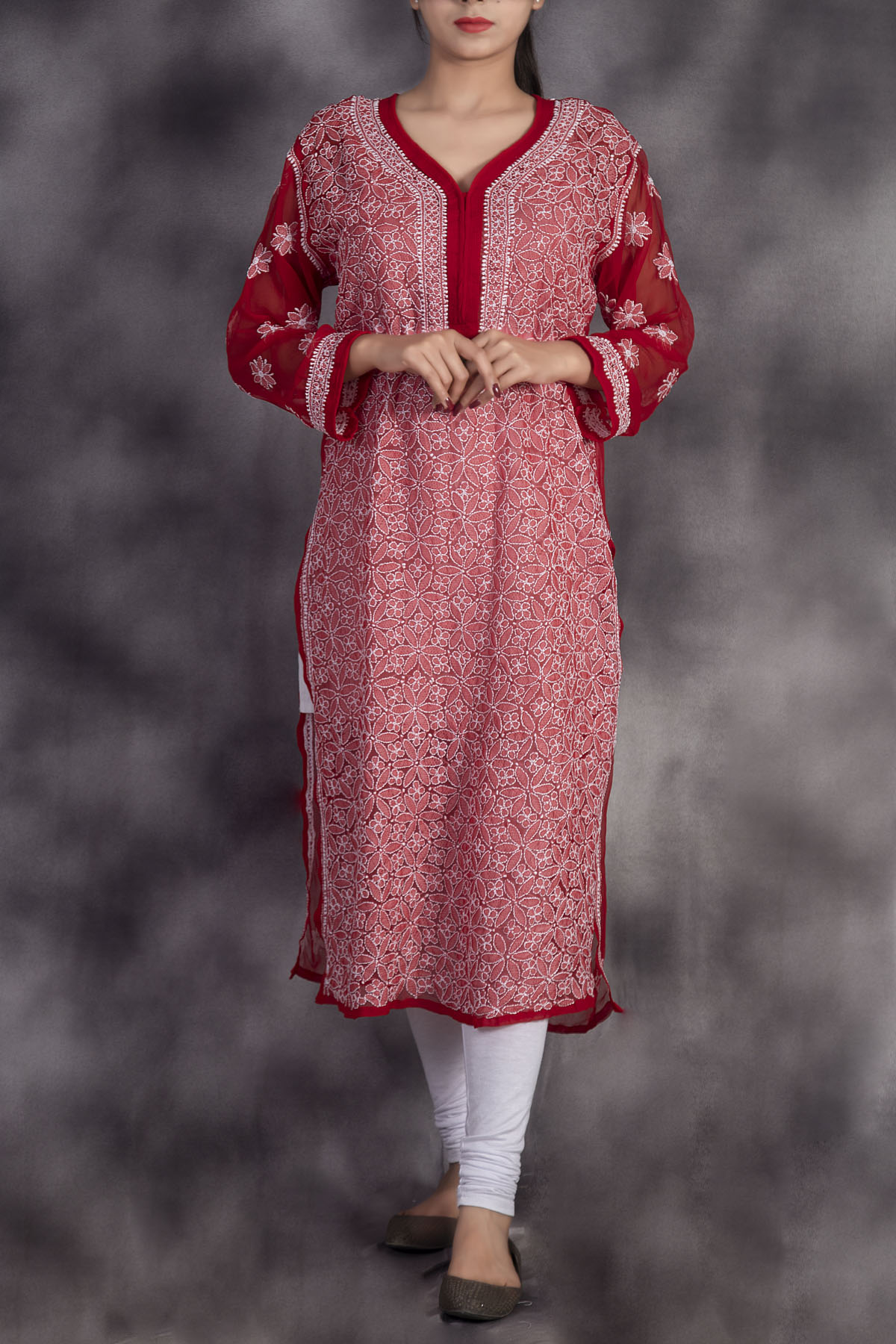 Hand Embroidered Red Lucknowi Chikankari Kurti-(Georgette)-GA250665