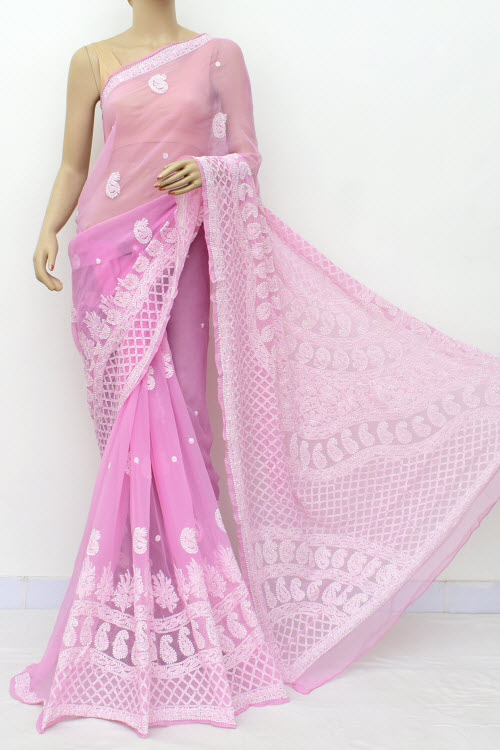Pink Hand Embroidered Lucknowi Chikankari Saree (Georgette-With Blouse) 14636