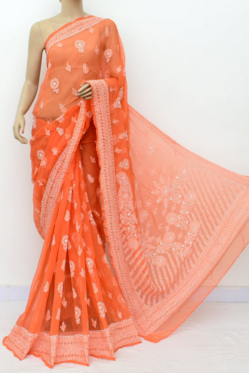 Orange Hand Embroidered Lucknowi Chikankari Saree (Georgette-With Blouse) 14658