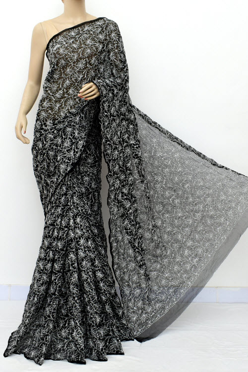 Black Hand Embroidered Allover Tepchi Lucknowi Chikankari Saree (georgette-with Blouse) 14957