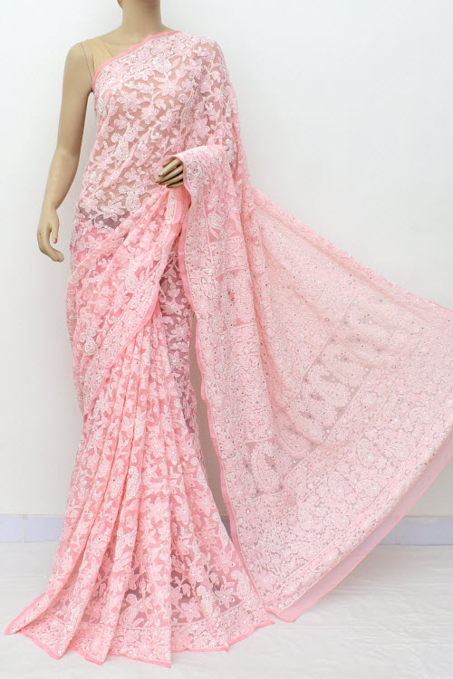 Peach Hand Embroidered Lucknowi Chikankari Saree with Allover Mukaish (Georgette-With Blouse) 14959