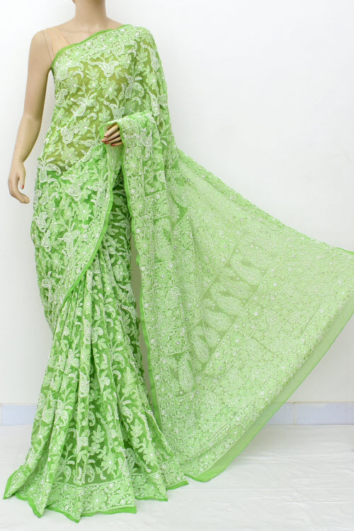 Green Hand Embroidered Lucknowi Chikankari Saree with Allover Mukaish (Georgette-With Blouse) 14960
