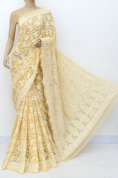 Fawn Hand Embroidered Lucknowi Chikankari Saree with Allover Mukaish (Georgette-With Blouse) 14961