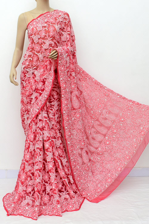 Red Hand Embroidered Lucknowi Chikankari Saree with Allover Mukaish (Georgette-With Blouse) 14962