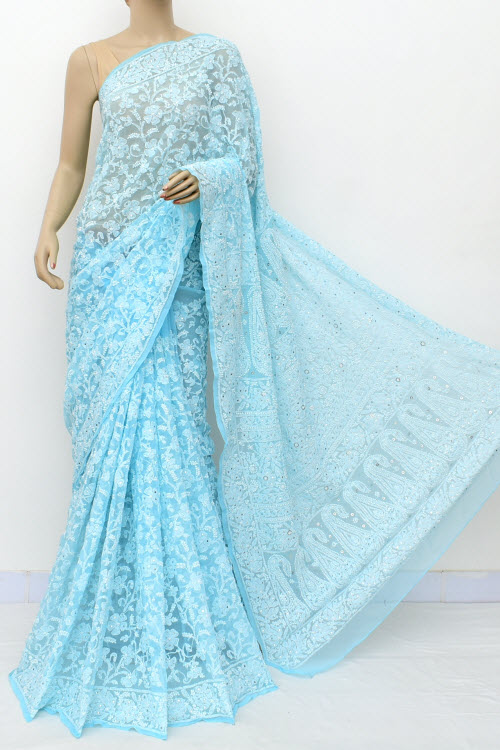 Blue Hand Embroidered Lucknowi Chikankari Saree with Allover Mukaish (Georgette-With Blouse) 14964