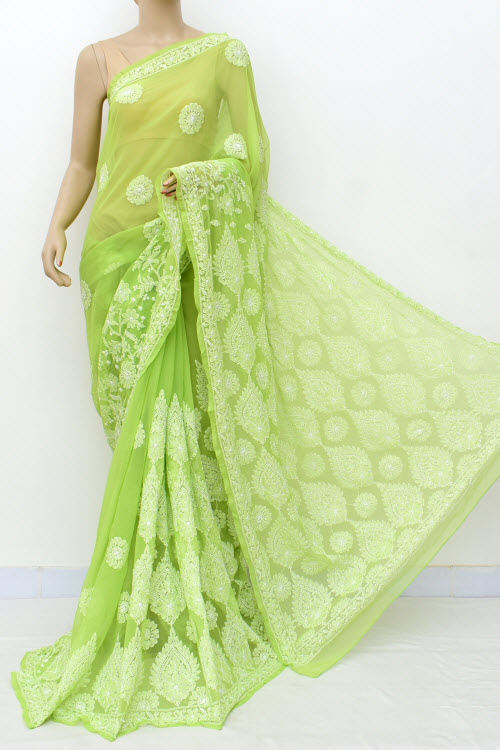 Green Hand Embroidered Lucknowi Chikankari Saree (Georgette-With Blouse) 17304
