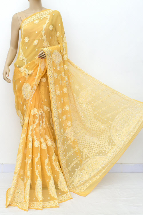 Fawn Hand Embroidered Lucknowi Chikankari Saree (Georgette-With Blouse) 17317