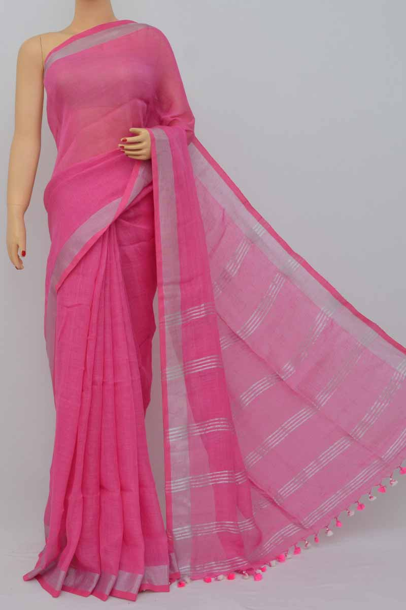 Pink Color Handwoven Textured Traditional Saree (With Blouse)zari border - HS250373