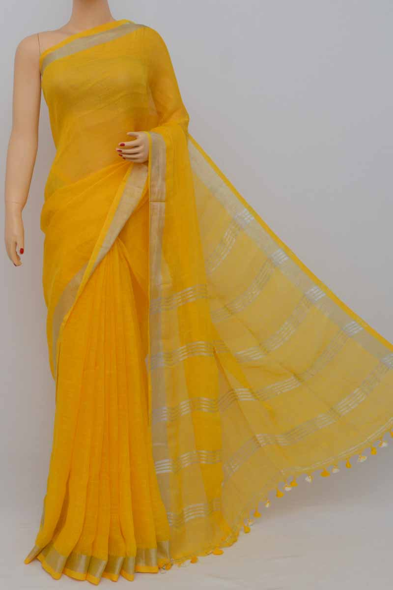 Yellow Color Handwoven Textured Traditional Saree (With Blouse)zari border - HS250378