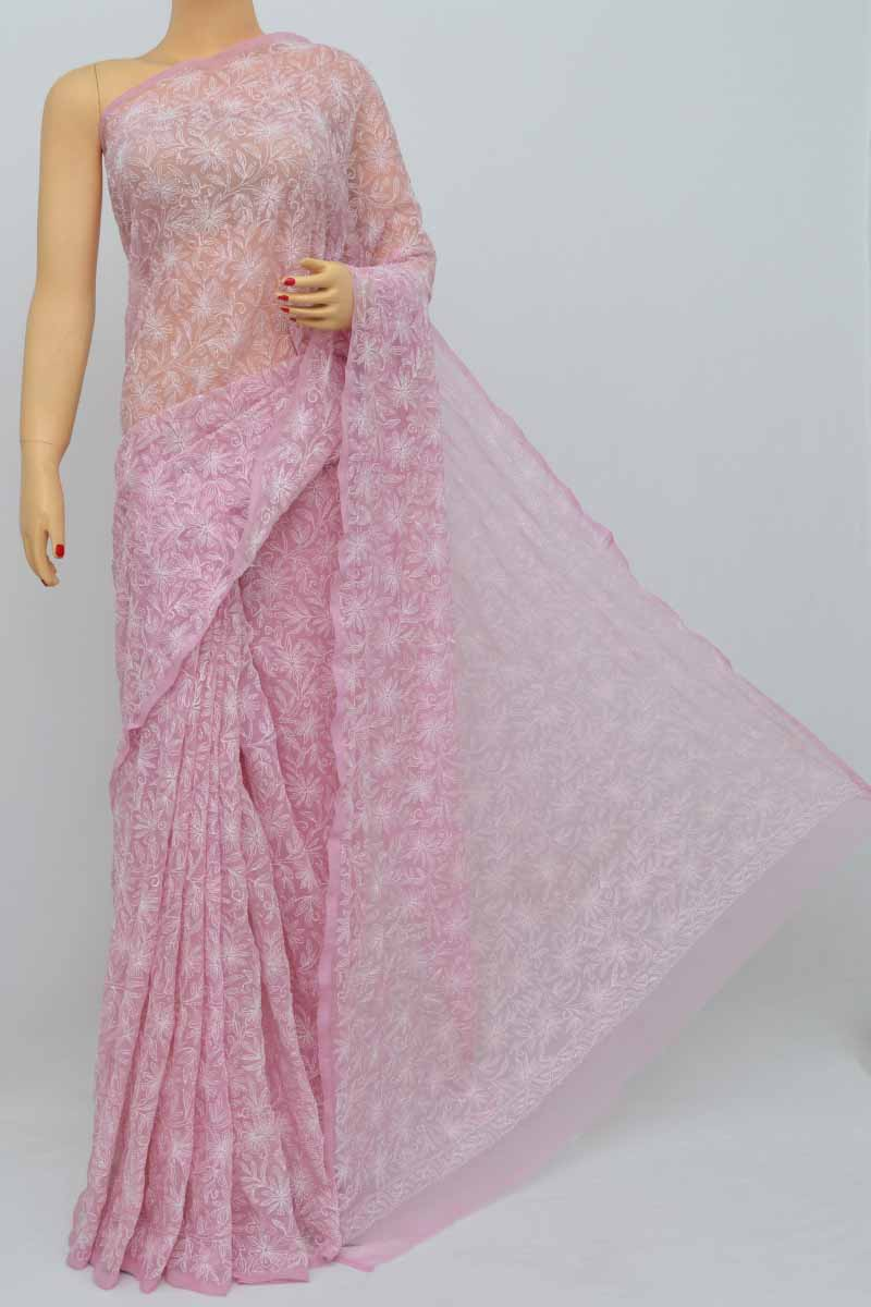 Pink Colour Hand Embroidered Tepchi Work Lucknowi Chikankari Saree(with Blouse- Georgette) Ss250491