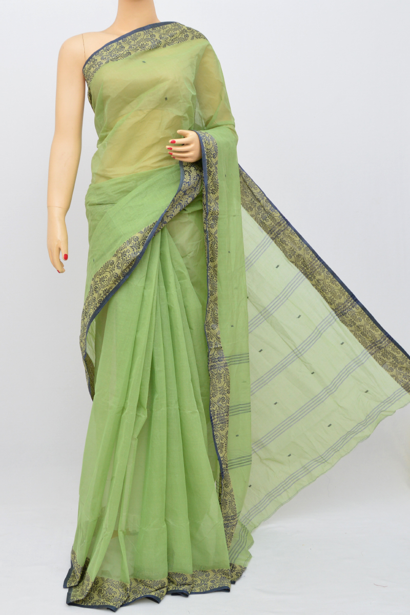 Green Color Bengal Handloom Cotton Saree (Without Blouse)- MY250493