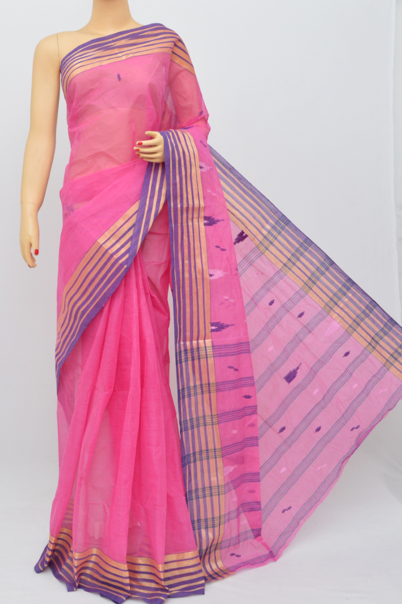 Pink Color Bengal Handloom Cotton Saree (Without Blouse)- MY250494
