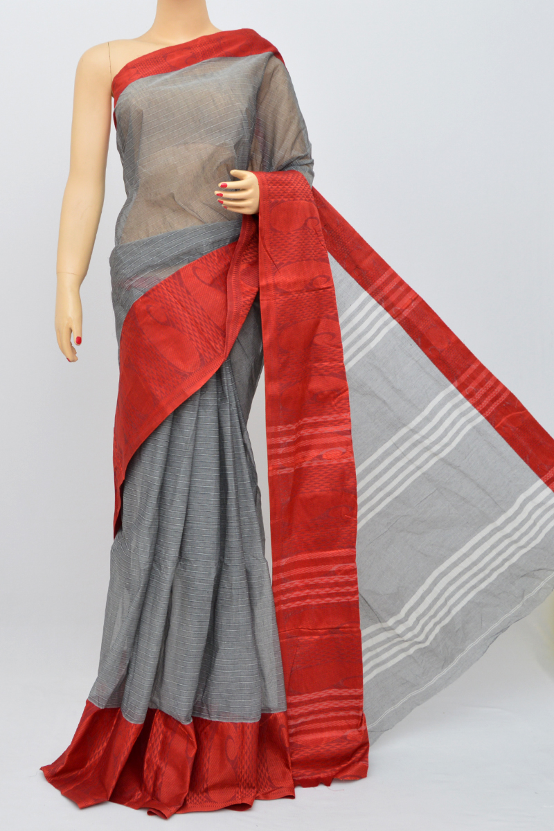 Grey Color Bengal Handloom Cotton Saree (Without Blouse)- MY250495