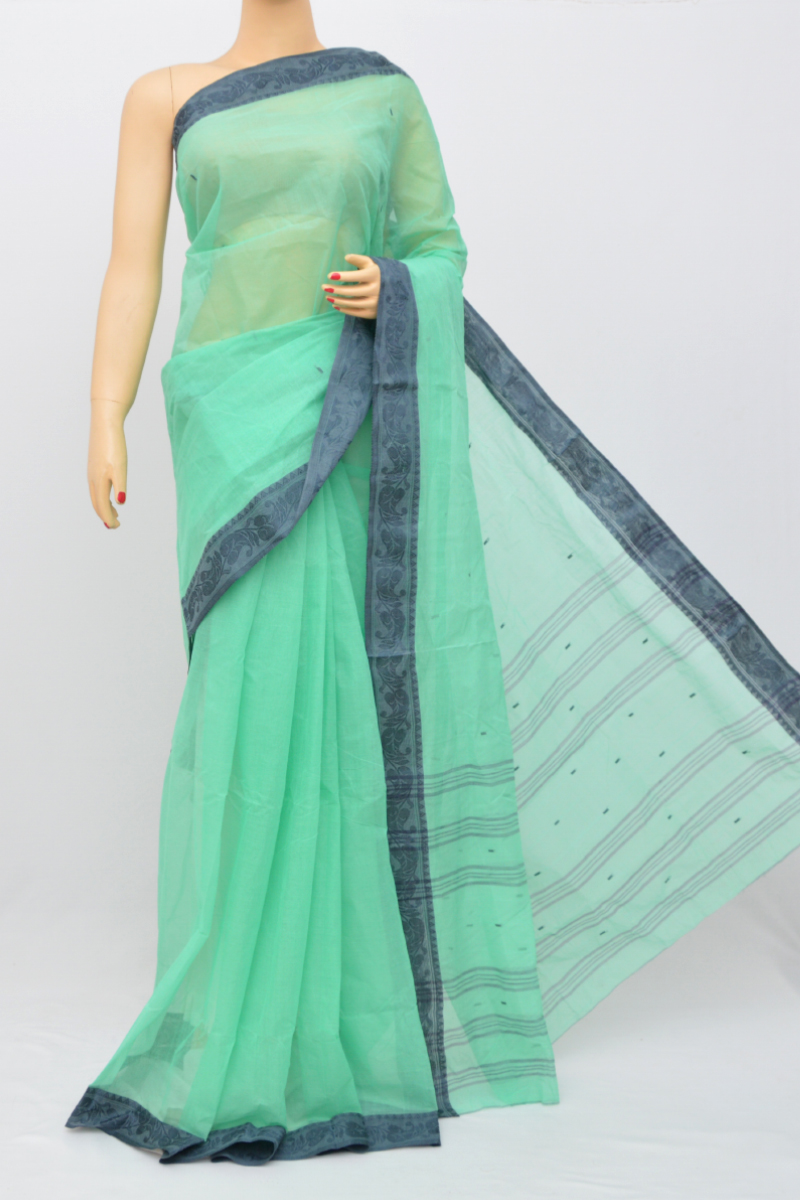 Seagreen Color Bengal Handloom Cotton Saree (without Blouse)- My250496