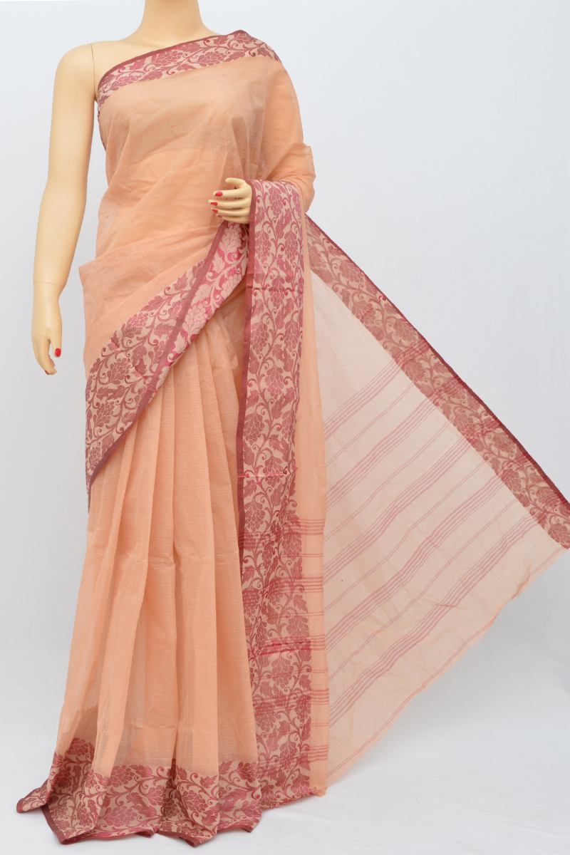 Peach Color Bengal Handloom Cotton Saree (without Blouse)- My250497