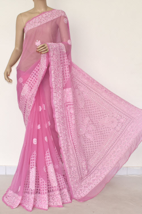Bubblegum Color Hand Embroidered Lucknowi Chikankari Saree (With Blouse - Georgette) 14488
