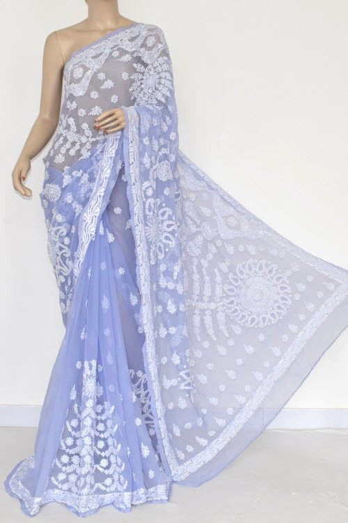 Cornflower Color Hand Embroidered Lucknowi Chikankari Saree (With Blouse - Georgette) 14489