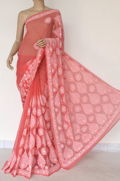Orange Hand Embroidered Lucknowi Chikankari Saree (With Blouse - Georgette) 14570