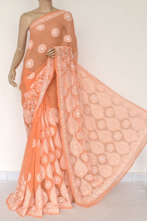 Orange Hand Embroidered Lucknowi Chikankari Saree (With Blouse - Georgette) 14572