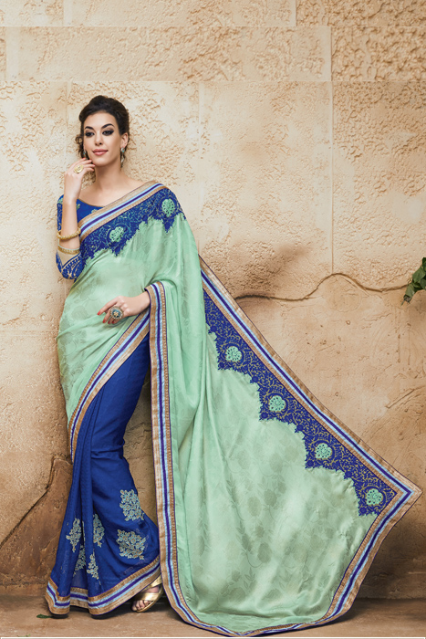 An Art Silk  Saree With Blue And Light Green With Blue Embroidery At Border