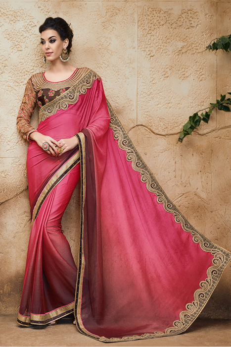 Peach And Brown Art Silk Saree With Golden Patch Border And Embellishment