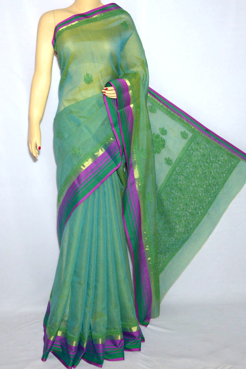 Green Color Kota With Zari Border Hand Embroidered Lucknowi Chikankari Saree (With Blouse - Georgette) MC250066