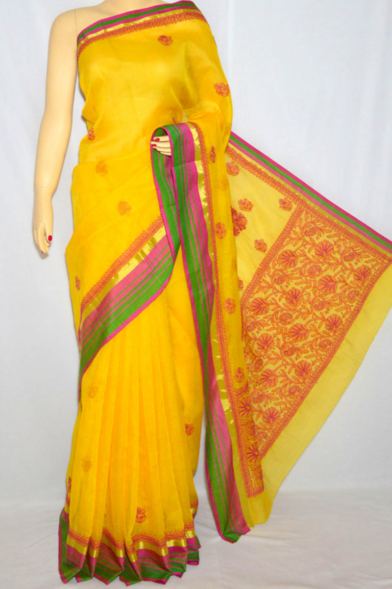 Mustard Yellow Kota With Zari Border Hand Embroidered Lucknowi Chikankari Saree (With Blouse - Georgette) MC250065