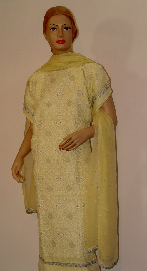 Chikankari Salwar Kameez  Cotton (Unstitched) 10085
