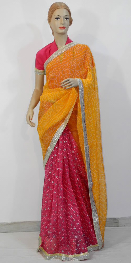 f49a283973 Buy traditional bandhani sarees online, Pure traditional bandhani ...