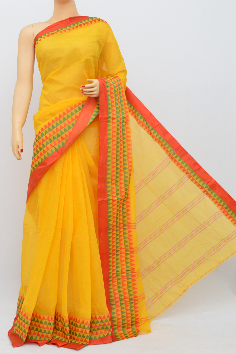 Yellow Colour Bengal Handloom Cotton Saree(Without Blouse) SM250505