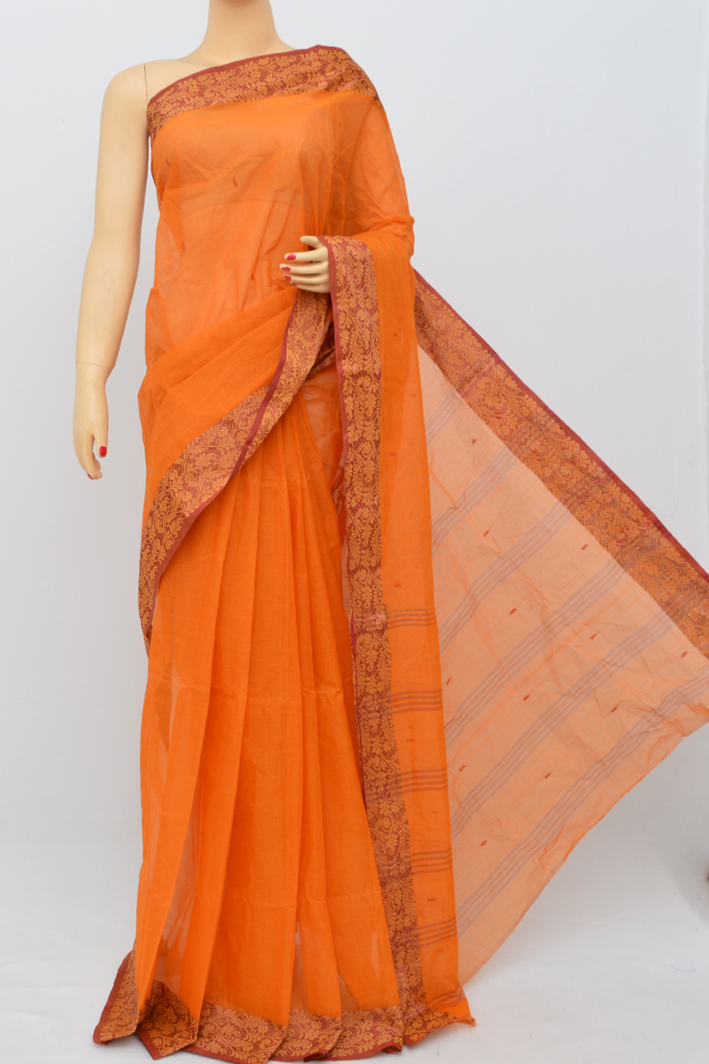 Orange Colour Bengal Handloom Cotton Saree (without Blouse) - Ss250498