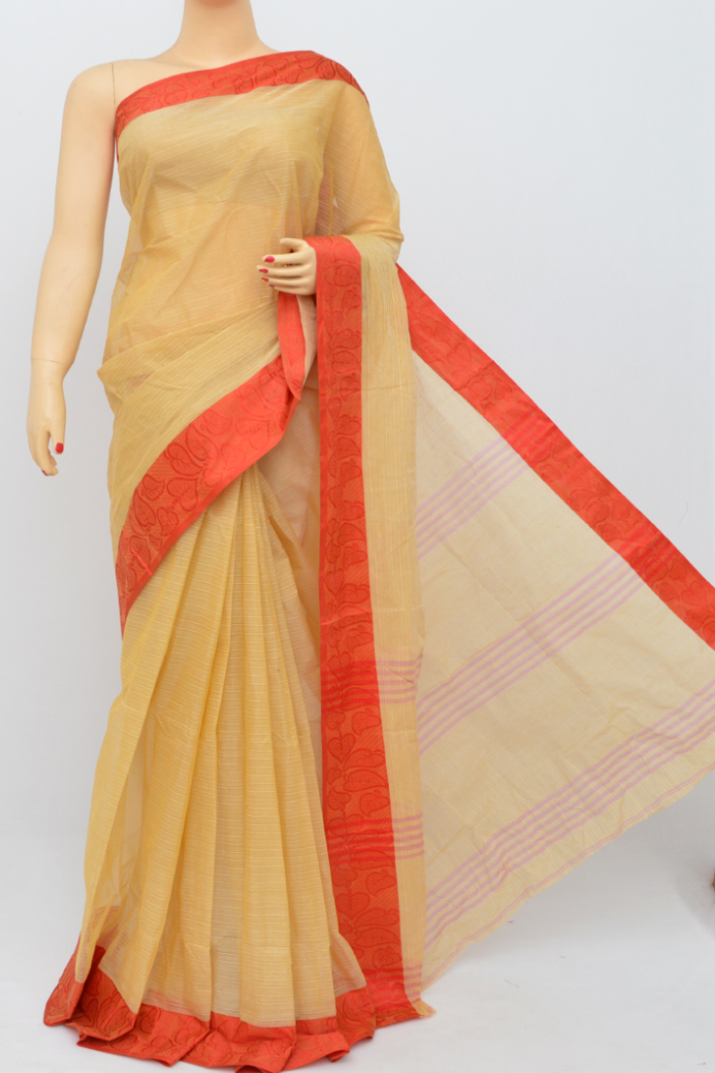 Fawn Colour Bengal Handloom Cotton Saree (Without Blouse) - SS250502