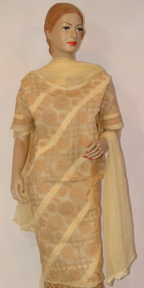 Chikankari Salwar Kameez  Cotton (Unstitched) 10159