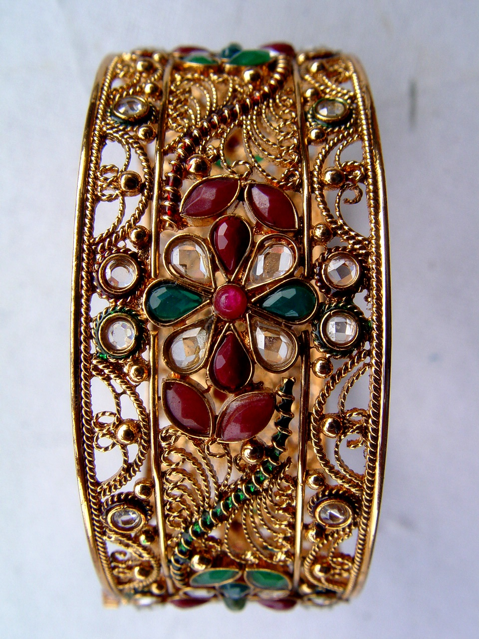 Gold Plated Bangle (Kundan/Meena) 10317