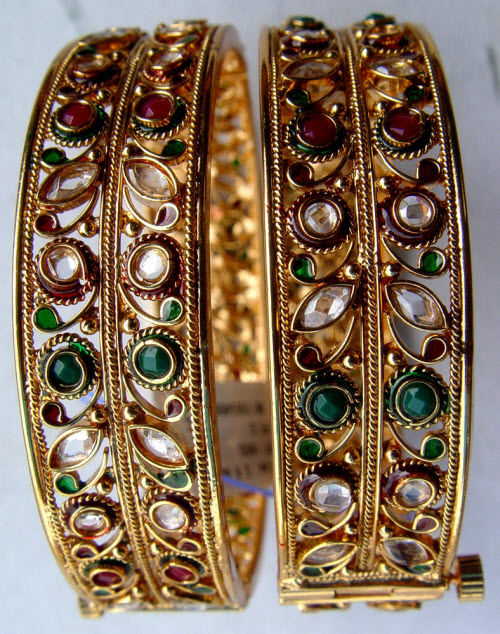 Gold Plated Bangle (Kundan/Meena) 10318