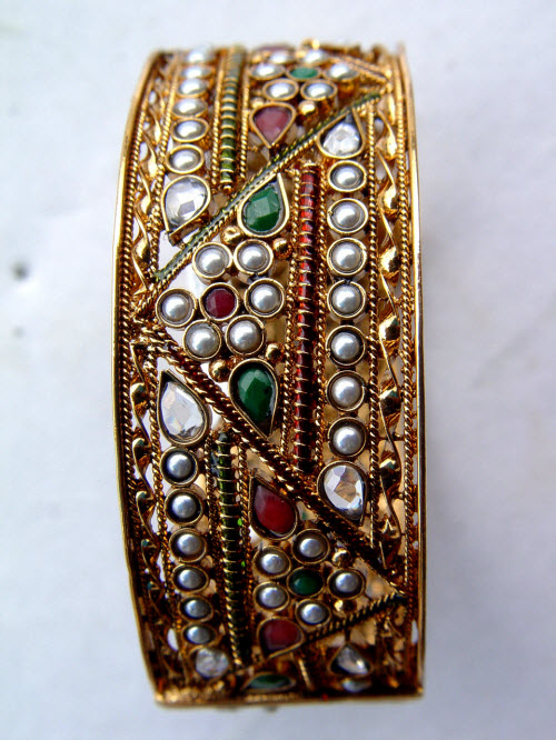 Gold Plated Bangle (Kundan/Meena) 10319