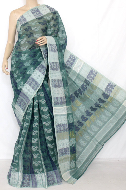 Greyish Green Handwoven Bengal Tant Cotton Jamdani Saree (Without Blouse) 10570