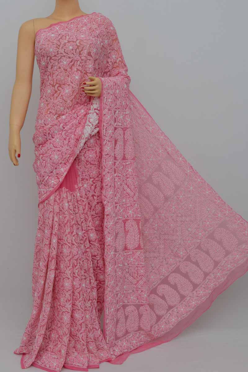 Pink Color Allover Heavy Palla Hand Embroidered Lucknowi Chikankari Saree (With Blouse - Georgette) SM250410