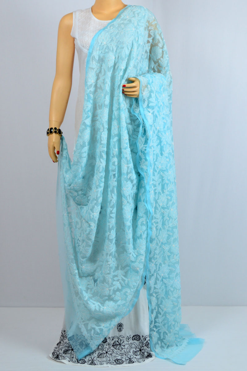 Blue Color Allover Heavy Jaal Hand Embroidered Lucknow Chikankari Georgette Dupatta - MCD400014