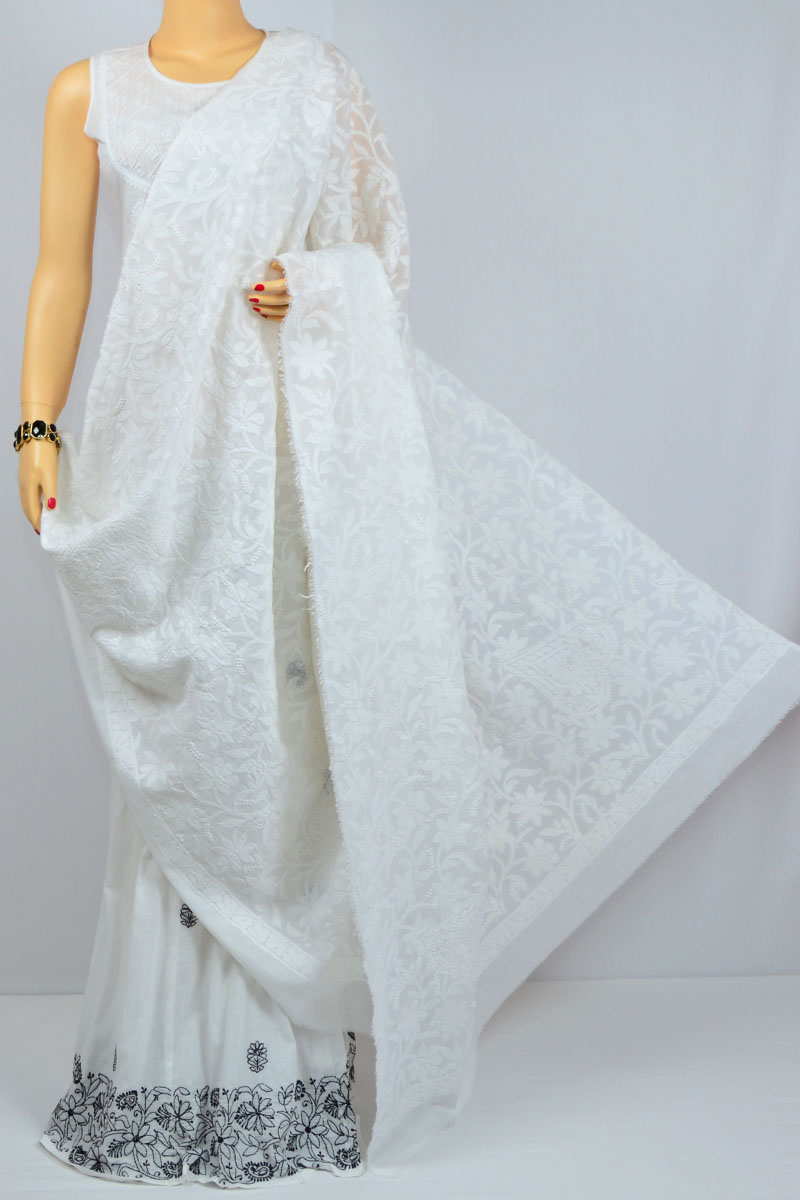 White Allover Heavy Jaal Hand Embroidered Lucknow Chikankari Dupatta (Cotton) - MCD400019