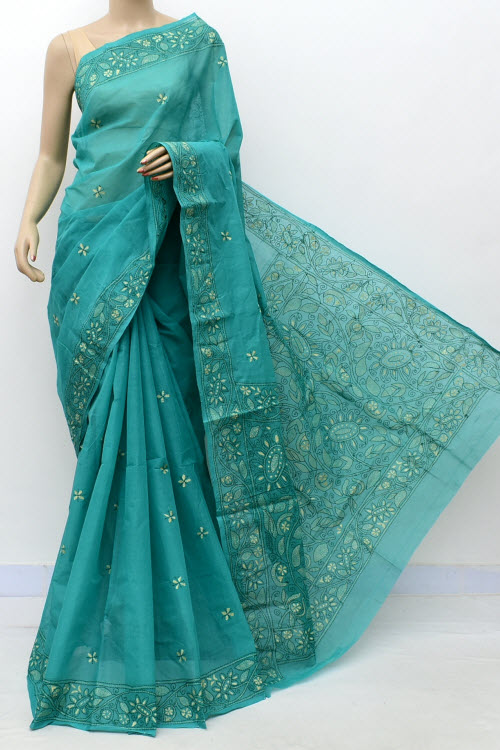 Seagreen Colour Kantha Embroidery Bengal Handloom Cotton Saree (without Blouse) 17744