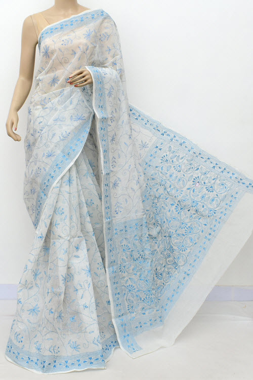 White Colour Kantha Embroidery Bengal Handloom Cotton saree (Without Blouse) 17757
