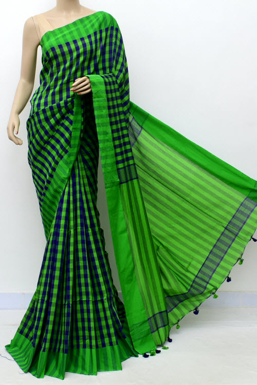 Green Colour Soft Cotton Bengal Handloom Saree (without Blouse) 17648
