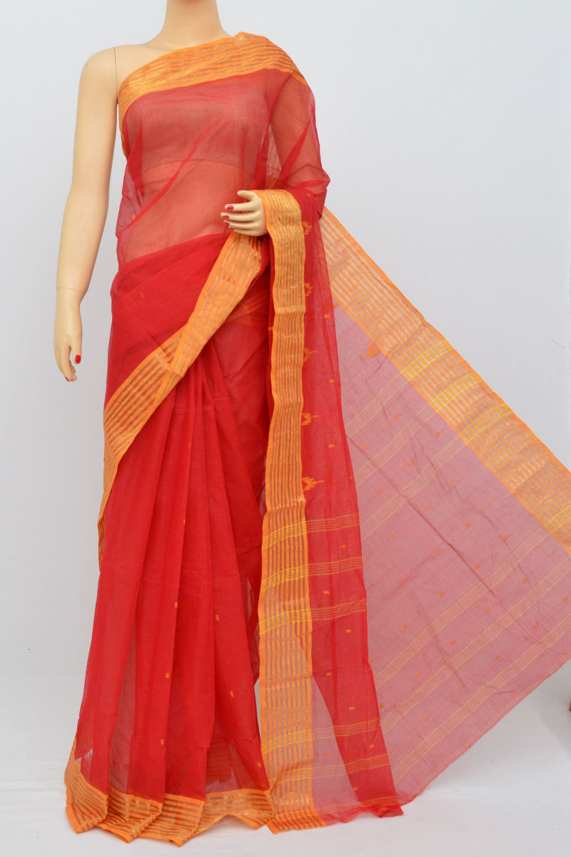 Red Colour Bengal Handloom Cotton Saree(Without Blouse)MC250508