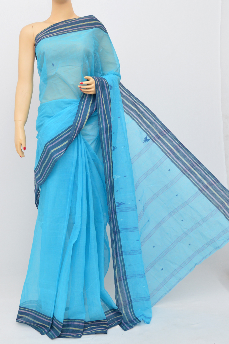 Skyblue Colour Bengal Handloom Cotton Saree(Without Blouse)MC250511