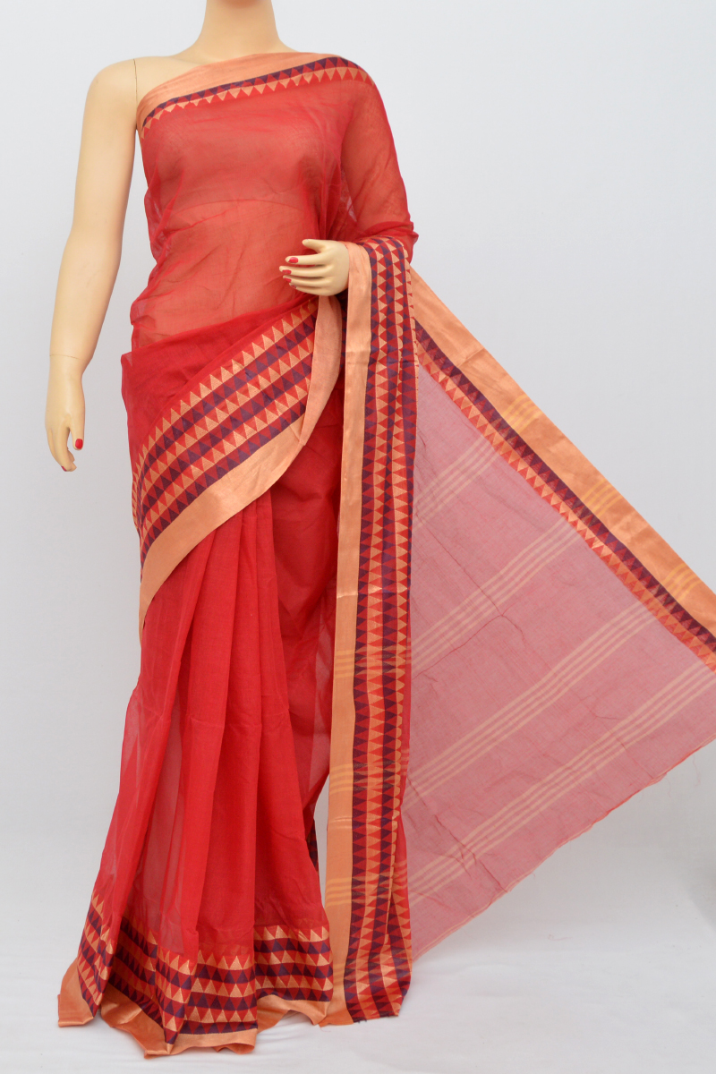 Red Colour Bengal Handloom Cotton Saree(Without Blouse)SM250640