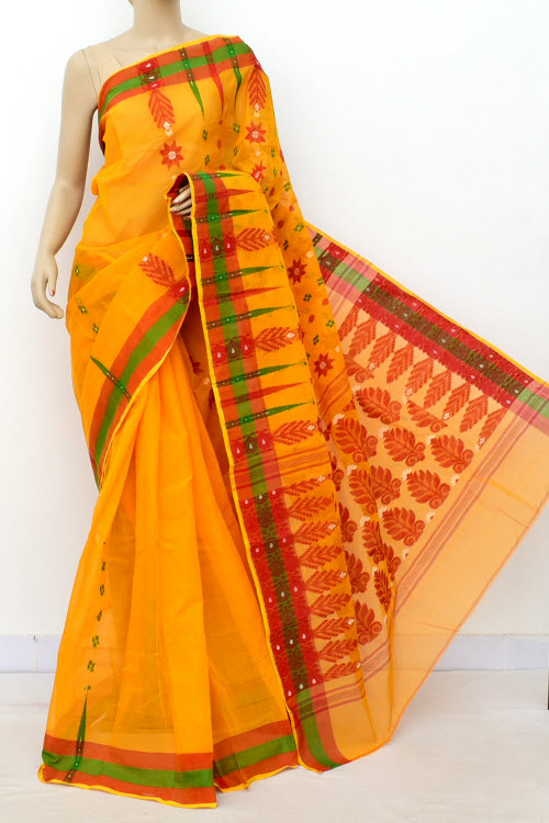 Orange Colour Handwoven Bengal Handloom Cotton Saree (Without Blouse) 14158
